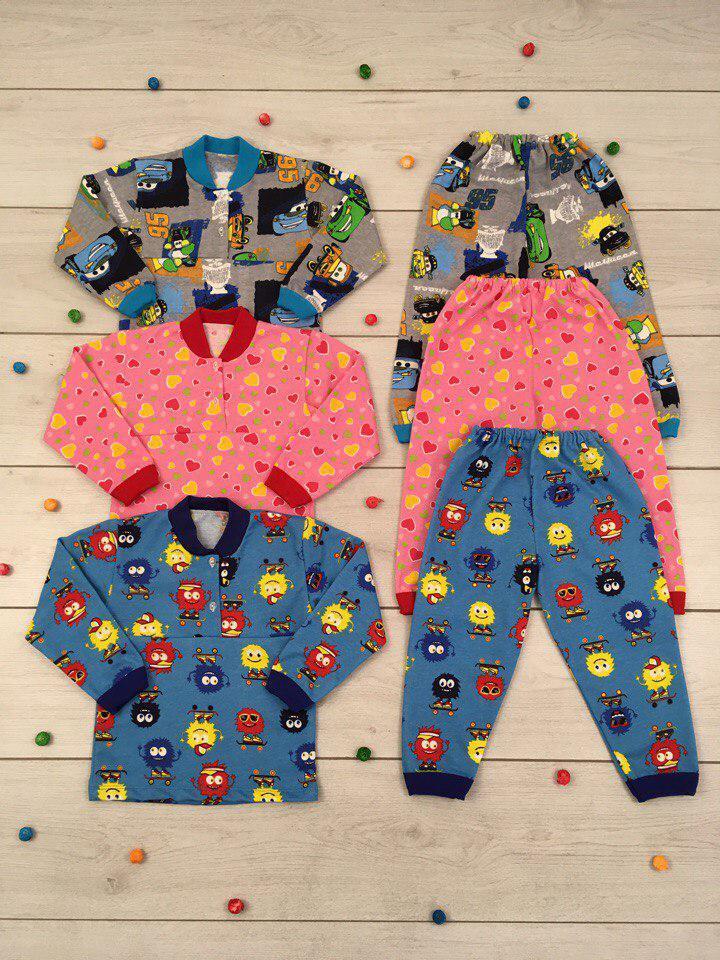 Пижама детская на кокетке Начес Размер 86 - 122 см