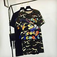 Женское платье туника Back to School камуфляж зеленое хаки, фото 1