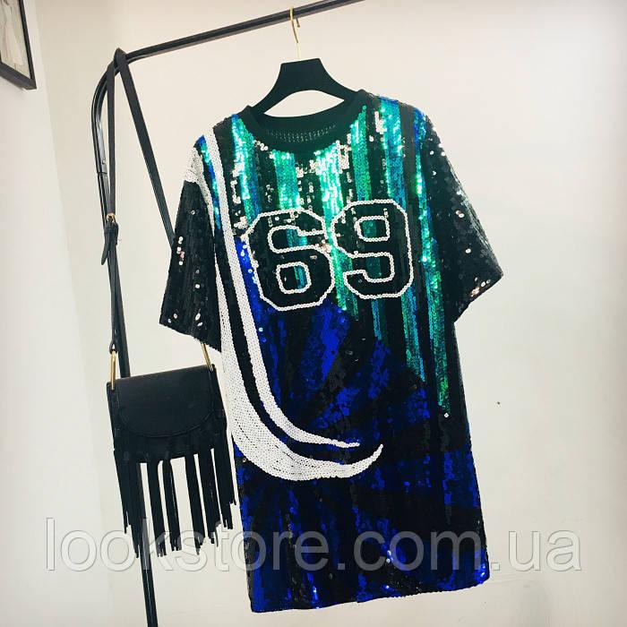 Женское платье туника Chic 69 с пайетками