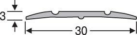 Порожки для пола алюминиевые анодированные 30мм серебро 2,7м