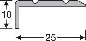 Порожек разноуровневый алюминиевый анодированный 25х10 серебро 0,9м