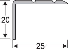 Порожек угловой алюминиевый анодированный 25х20 серебро 0,9м