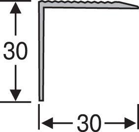 Порожки для ступеней алюминиевые анодированные 30х30 серебро 2,7м