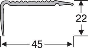 Порожки напольные разноуровневые алюминиевые анодированные 45х22 серебро 2,7м