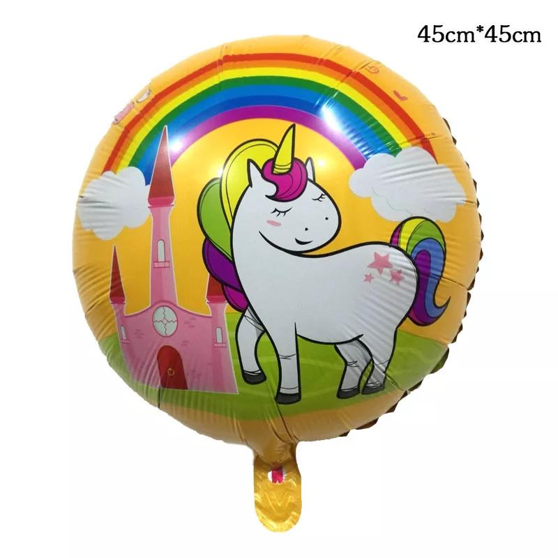 Кулька повітряний фольгований єдиноріг 45 см