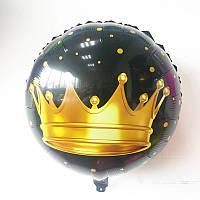 """Шарик воздушный """" Корона золотая"""" черный фон, диаметр 45 см."""