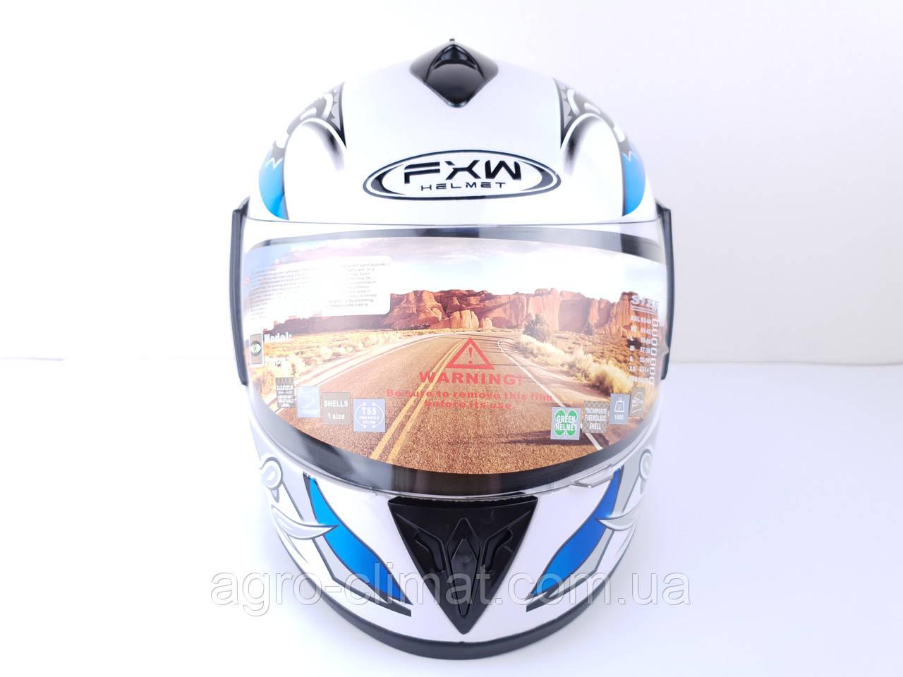 Шолом для мотоциклів Hel-Met 150 білий з синім