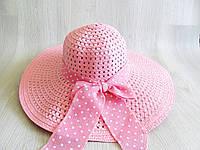 Соломенная шляпа широкополая, пляжная шляпа, шляпка с лентой коралл, фото 1