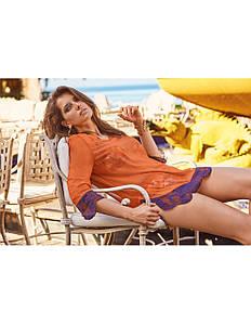Коротке пляжна сукня з рукавом 3/4 оранжеового кольору Amarea 18038