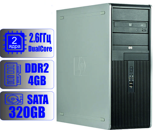 Системный блок HP 2-ядра 2.6GHz/DDR2-4Gb/HDD-320Gb, фото 2