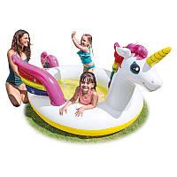 Детский надувной бассейн-игровой центр Intex 57441 Единорог 272х193х104 см