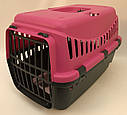 Переноска для собак и кошек Gipsy Small пластиковая дверь розовая, фото 2