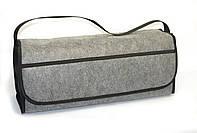 Сумка-органайзер в багажник серая ворс 1 отдел, фото 1