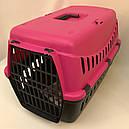 Переноска для собак и кошек Gipsy Large пластиковая дверь розовая, фото 2