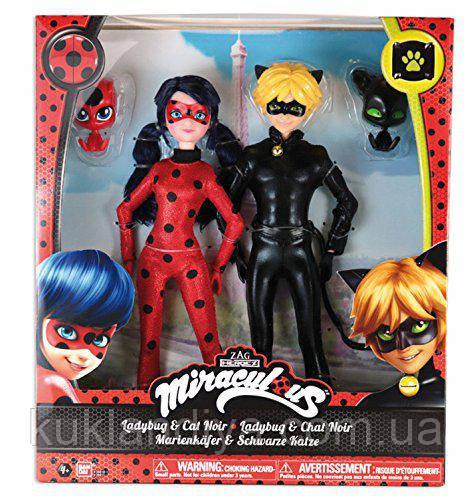 Леди Баг набор кукол Леди Баг и Супер Кот с питомцами / Dolls Lady Bug and Cat Noir BANDAI