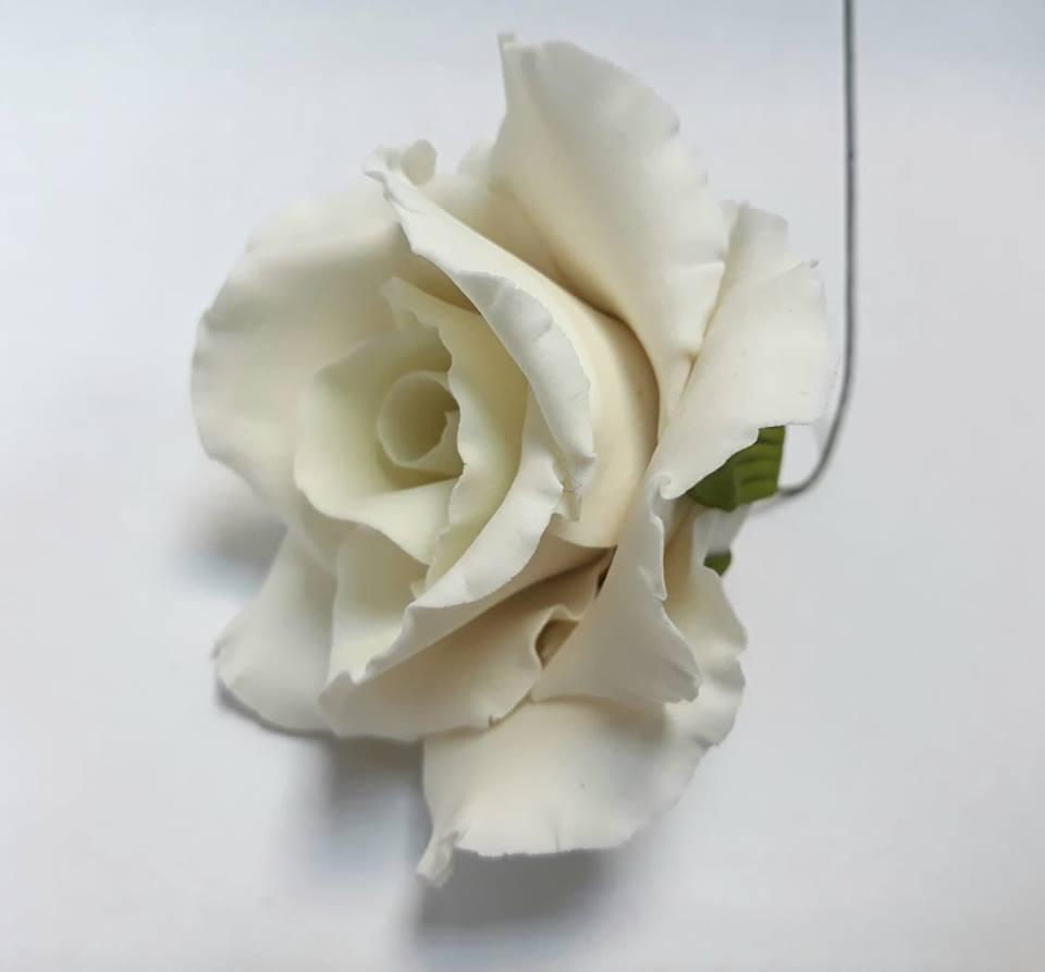 """Роза оформленная """"белая"""" d75мм Украса - 06469"""