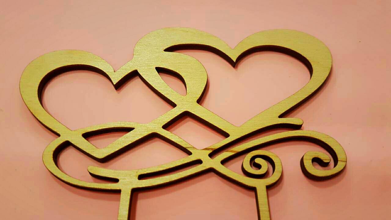 """Топпер деревянный """"Два сердца"""" 1 шт."""