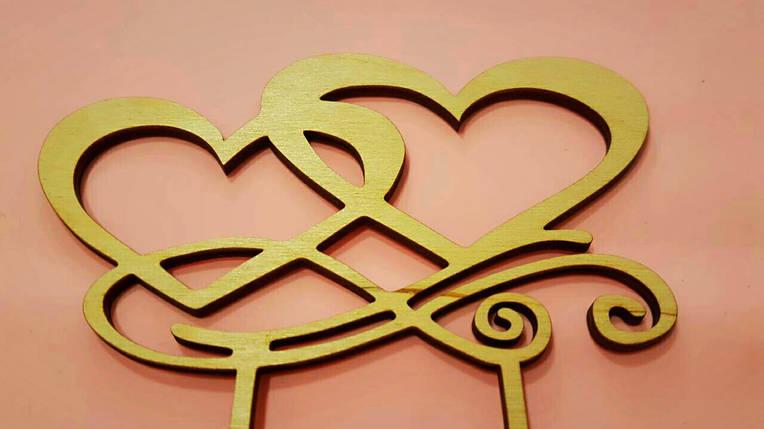 """Топпер деревянный """"Два сердца"""" 1 шт., фото 2"""