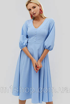 Расклешенное бенгалиновое платье с рукавами на резинке (Reem crd), фото 2