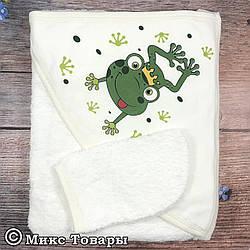Полотенце для малышей с рукавичкой для купания Размер: 75х 75 см (6815)