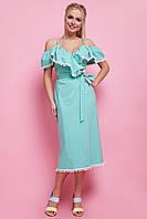 Модное платье ниже колен с рюшами запахивается открытые плечи мятное