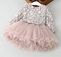 Нарядне плаття на довгий рукав для дівчаток