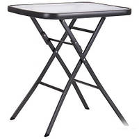 Металлический раскладной стол Mexico т.серый, стекло, TM AMF