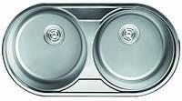 Уценка! Мойка кухонная Cristal (ROMA DUO) круглая 2-ная врезная 840x440х180 Satin
