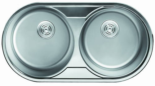 Уценка! Мойка кухонная Cristal (ROMA DUO) круглая 2-ная врезная 840x440х180 Satin, фото 2