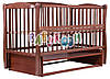 Детская кровать Дубок Елит резьба, маятник, откиднок бок, Бук