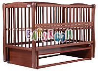 Детская кровать Дубок Елит резьба, маятник, откиднок бок, Бук , фото 1