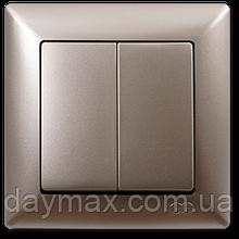 Выключатель двухклавишный Gunsan Visage, VS 28 25 103, золото