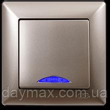 Выключатель одноклавишный Gunsan Visage с подсветкой, VS 28 25 102, золото