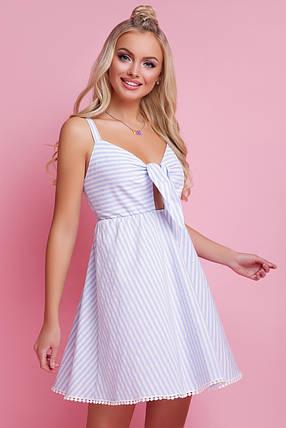 Летнее платье мини юбка клеш без рукав полосатое голубое, фото 2