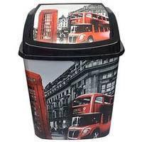 Ведро с кач. крышкой для мусора 5л.с рис. Лондон автобус Elif