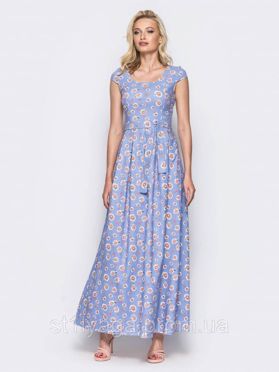 1561ea0f99c Льняное платье в пол с нежным цветочным принтом голубой ЛЕТО -  Интернет-магазин Stilyaga-