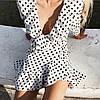 Платье мини рюши на запах белое в черный горох длинный рукав