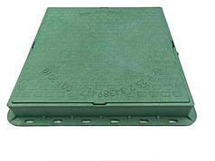 Люк полімер-композитний квадратний 710*710 мм, зелений, 1,5 тн