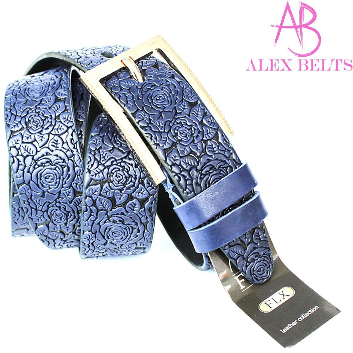 Ремень женский джинсовый (casual) тисненная кожа на шпеньке (синий) 35 мм-купить оптом в Одессе