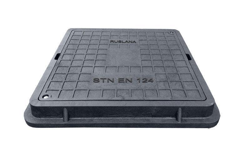 Люк полімер-композитний квадратний 710*710 мм, чорний, 1,5 тн