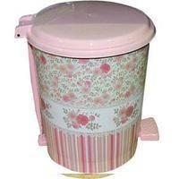 Ведро с педалью 6 литров с рисунком Винтаж розовый Elif