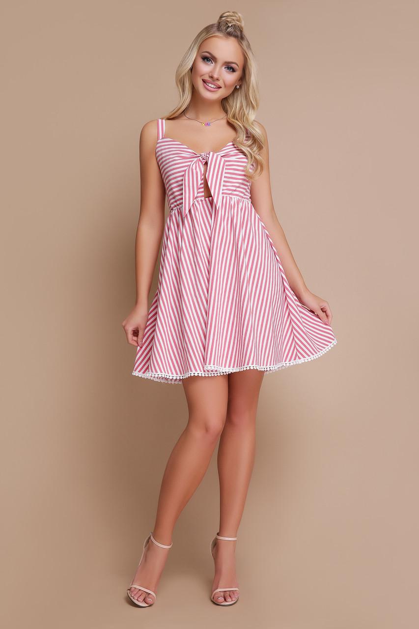 Легкое платье на лето выше колен от груди свободное на бретельках полосатое коралловое