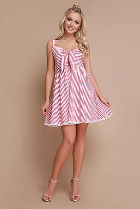 Легкое платье на лето выше колен от груди свободное на бретельках полосатое коралловое, фото 2