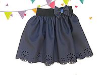 Шольная синяя юбка для девочки Абстракция
