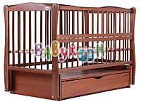 Детская кровать Дубок Елит резьба, ящик, маятник,откидная боковина, Бук орех, фото 1