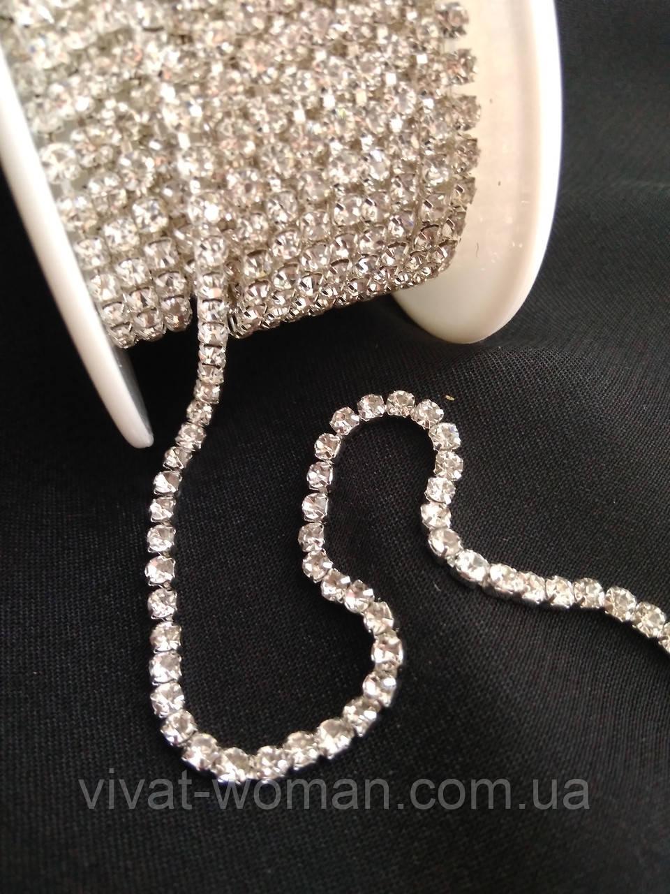 Стразовая цепь, silver, Crystal SS6 (2,0 мм) 1 ряд. Цена за 1м.