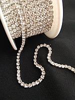 Стразовая цепь, silver, Crystal SS6 (2,0 мм) 1 ряд. Цена за 1м., фото 1