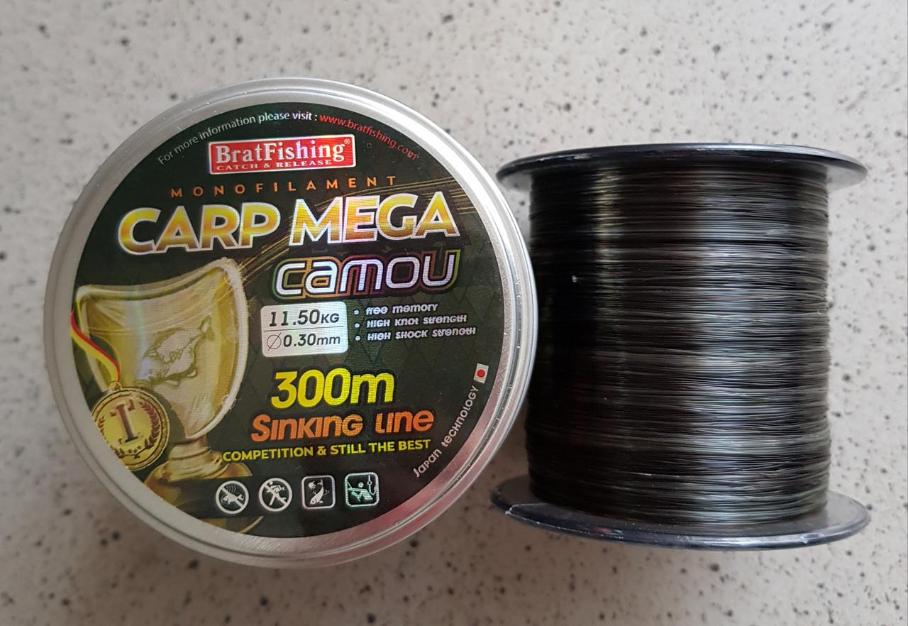 Рибальська волосінь BratFishing carp mega camou 300m 0,3 мм
