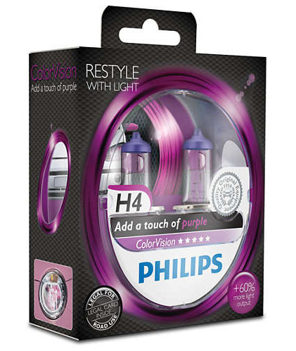 PHILIPS H4 Color Vision Purple 12V 60/55W