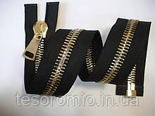 Молния металлическая тип 12 черная основа золото 80см полированная